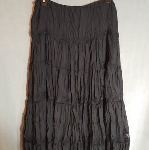 Allison Taylor Long Crinkle Black Skirt. Size L